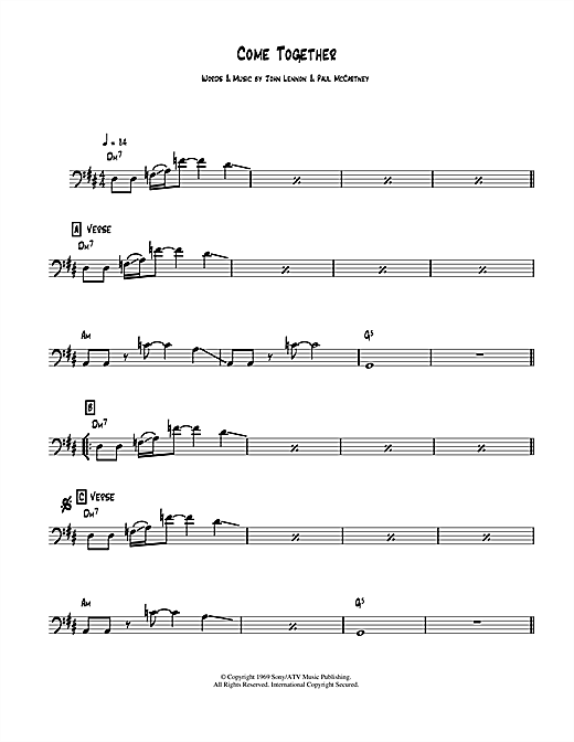 Tablature guitare Come Together de The Beatles - Guitare Basse