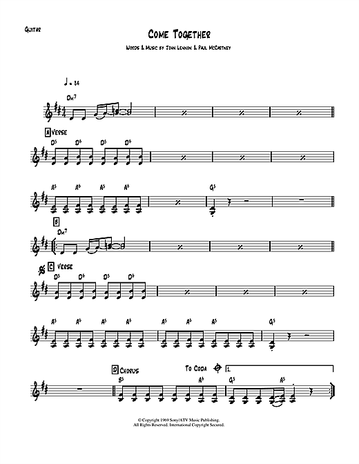 Tablature guitare Come Together de The Beatles - Guitare