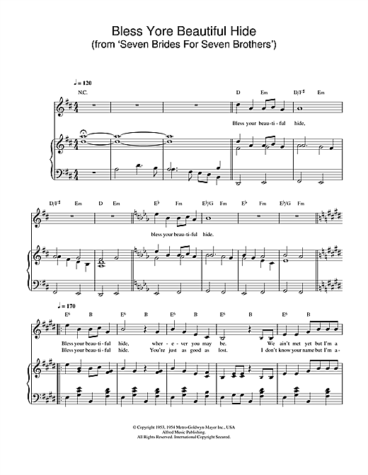 Bless Yore Beautiful Hide (from 'Seven Brides For Seven Brothers') Sheet Music