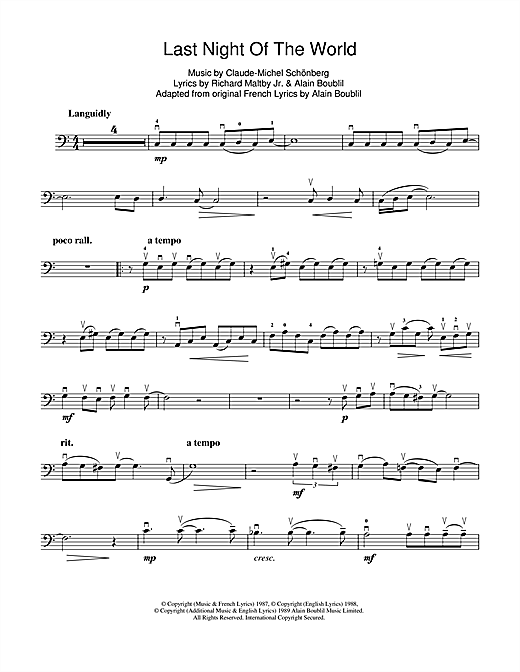 The Last Night Of The World (from Miss Saigon) Sheet Music