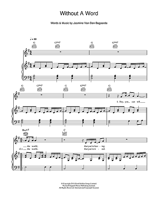 Without A Word Sheet Music