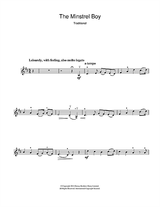 The Minstrel Boy Sheet Music