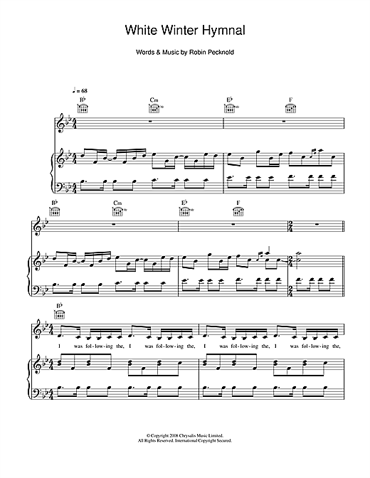 White Winter Hymnal (Piano, Vocal & Guitar)