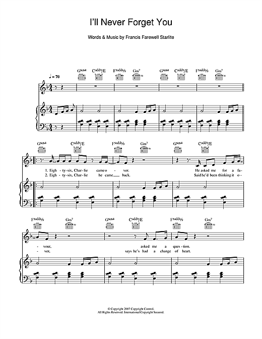 I'll Never Forget You Sheet Music