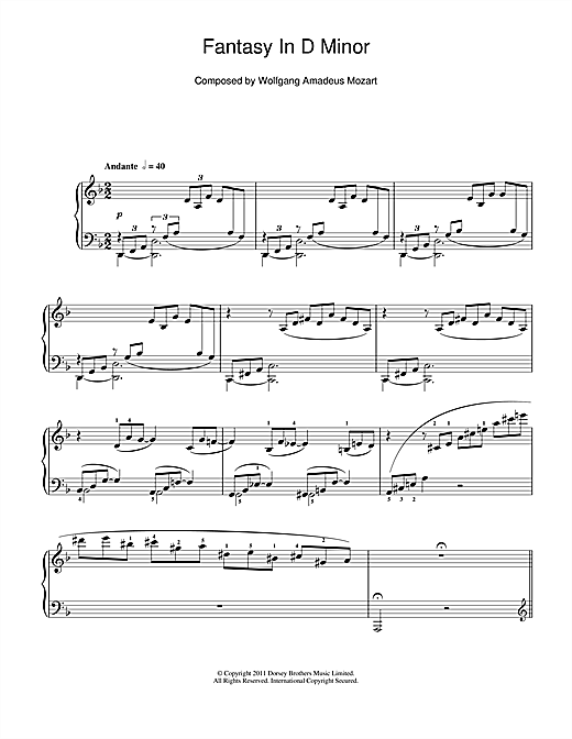 Partition piano Fantasy In D Minor (K397) de Wolfgang Amadeus Mozart - Piano Solo