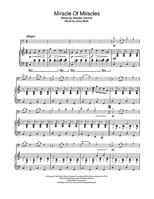 Miracle Of Miracles (from Fiddler On The Roof) Sheet Music