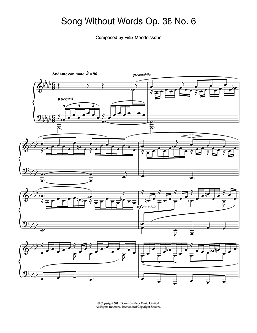 Song Without Words, Op. 38, No. 6 'Duetto' (Piano Solo)