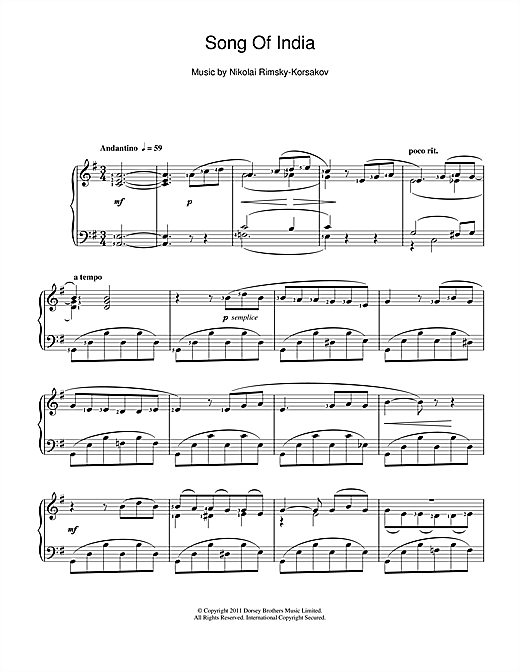 Song Of India Sheet Music