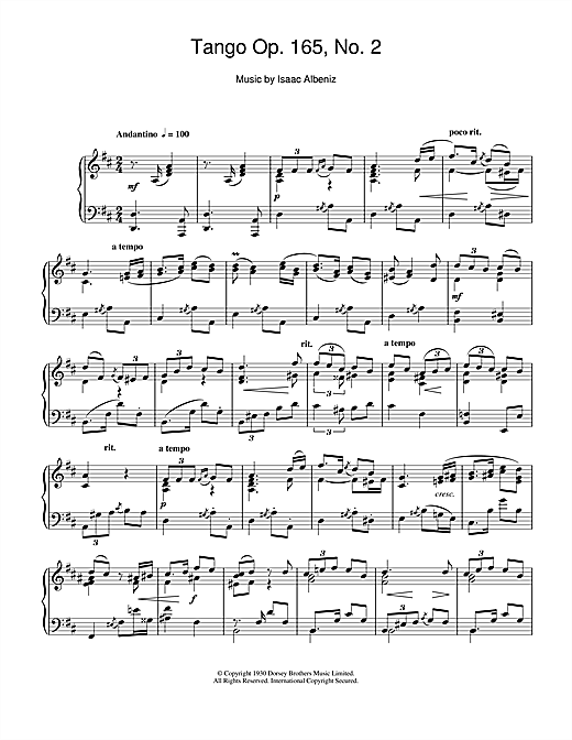 Partition piano Tango Op. 165, No. 2 de Isaac Albeniz