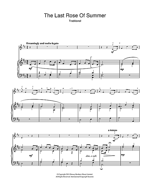 The Last Rose Of Summer Sheet Music