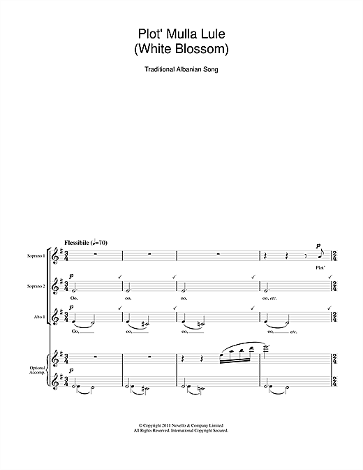 Plot' Mulla Lule (White Blossom) Sheet Music