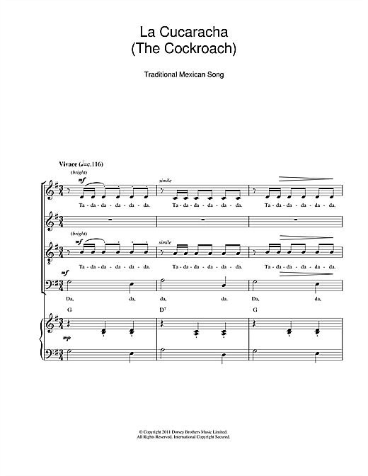 La Cucaracha (The Cockroach) Sheet Music