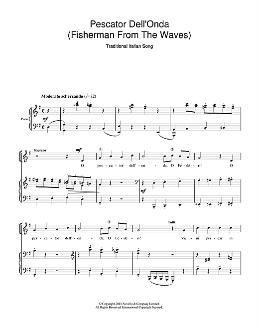 Partition chorale Pescator Dell'Onda (Fisherman From The Waves) de Traditional - SATB