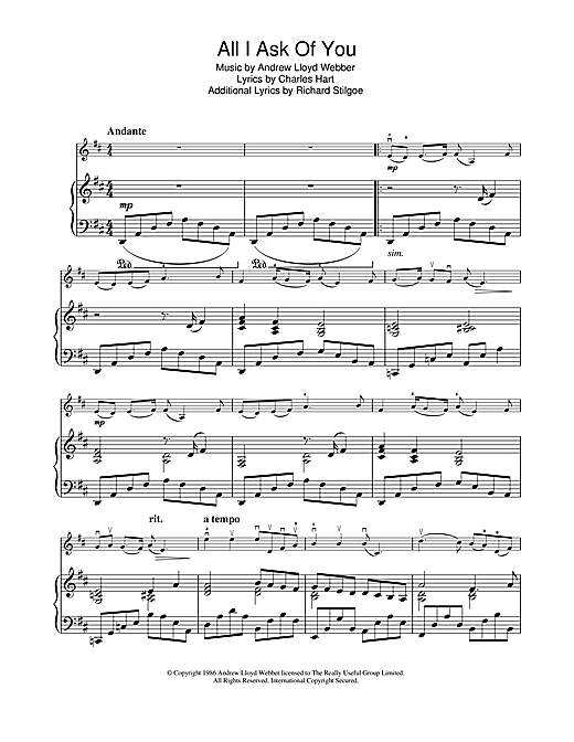All I Ask Of You (from The Phantom Of The Opera) Sheet Music