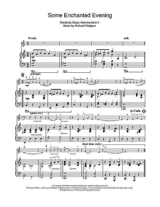 Some Enchanted Evening (from South Pacific) Sheet Music