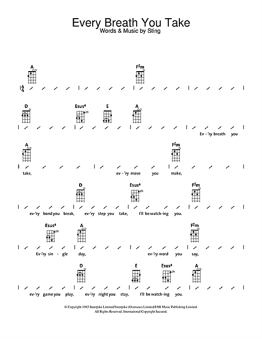 Tablature guitare Every Breath You Take de The Police - Ukulele (strumming patterns)
