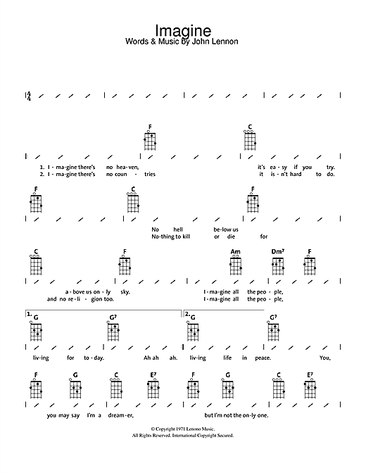 Tablature guitare Imagine de John Lennon - Ukulele (strumming patterns)