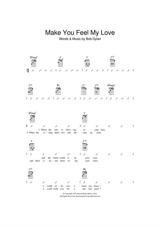 Make You Feel My Love sheet music by Adele (Ukulele with strumming patterns u2013 112763)