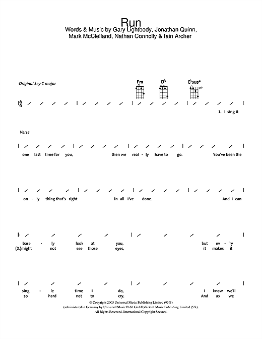 Tablature guitare Run de Snow Patrol - Ukulele (strumming patterns)