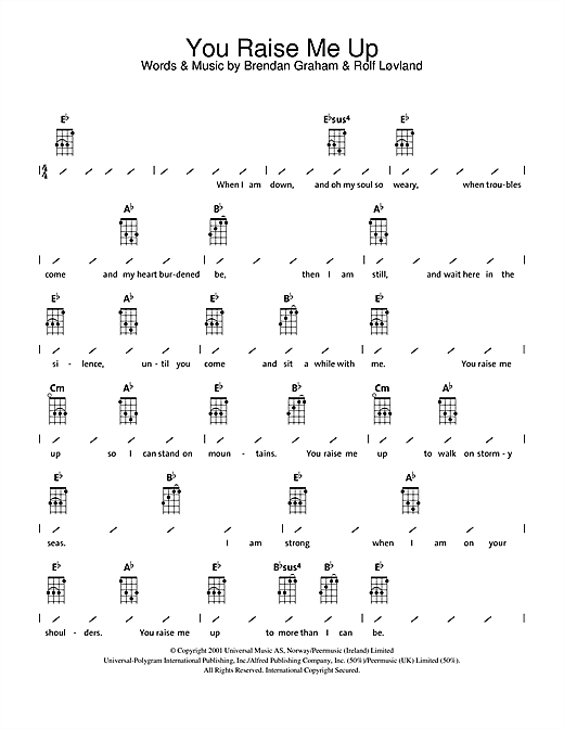 Tablature guitare You Raise Me Up de Westlife - Ukulele (strumming patterns)