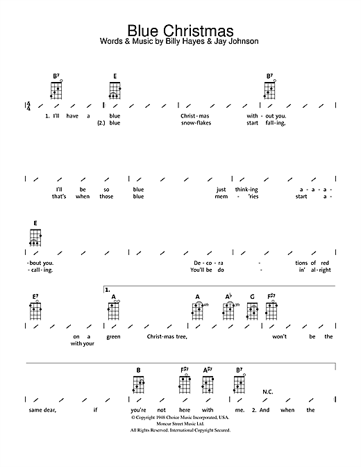 Blue Christmas sheet music by Elvis Presley (Ukulele with ...