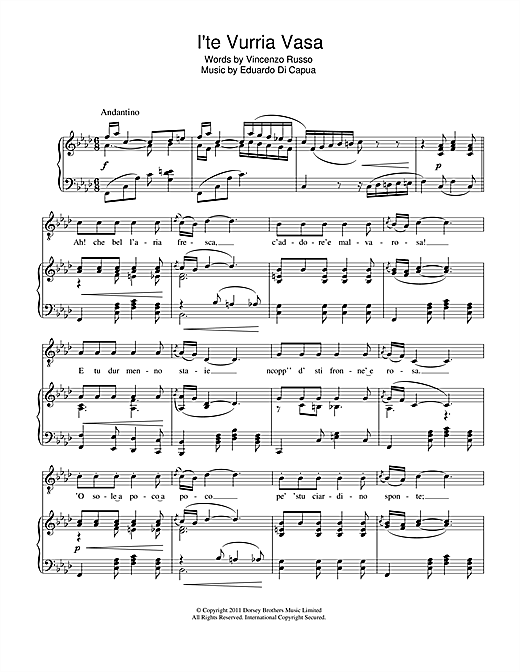 I'te Vurria Vasa Sheet Music