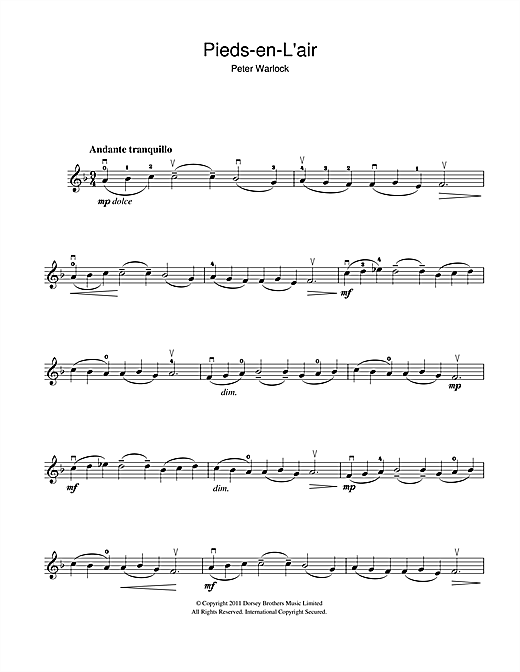 Pieds-En-L'air (from the Capriol Suite) Sheet Music