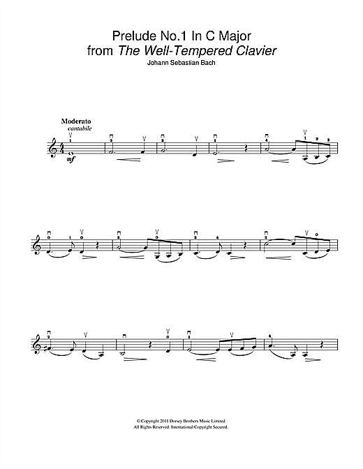 Prelude No.1 in C Major (from The Well-Tempered Clavier, Bk.1) (Violin Solo)
