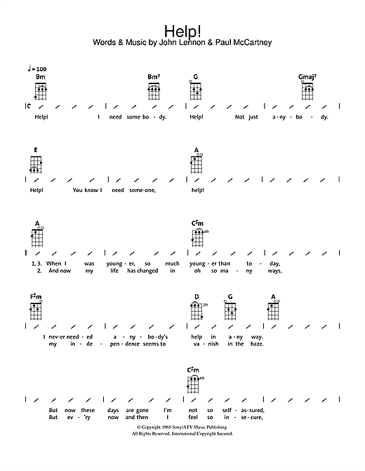 Help! sheet music by The Beatles (Ukulele with strumming patterns u2013 112826)