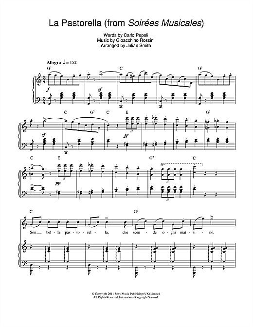 La Pastorella (from Soirees Musicales) Sheet Music