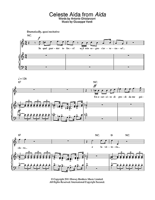 Celeste Aida (from Aida) Sheet Music