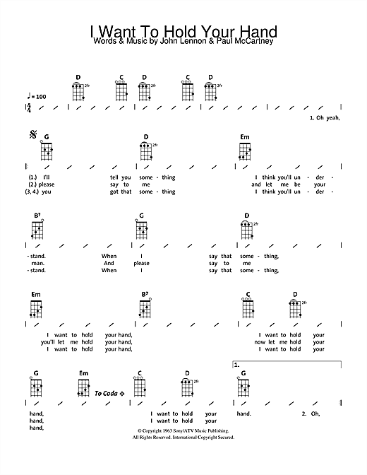 I Want To Hold Your Hand guitar tab by The Beatles - Ukulele ...