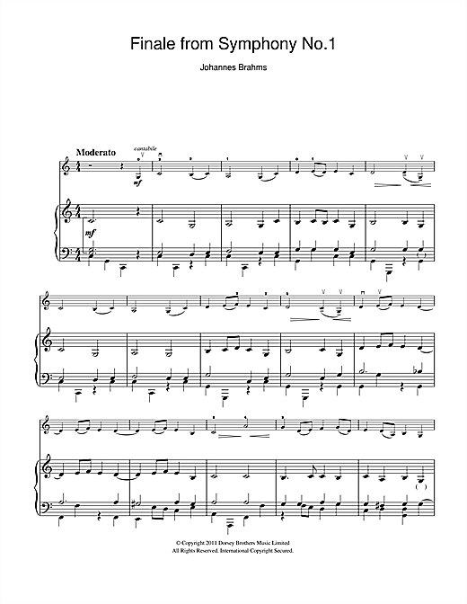Finale From Symphony No.1 In C Minor Sheet Music