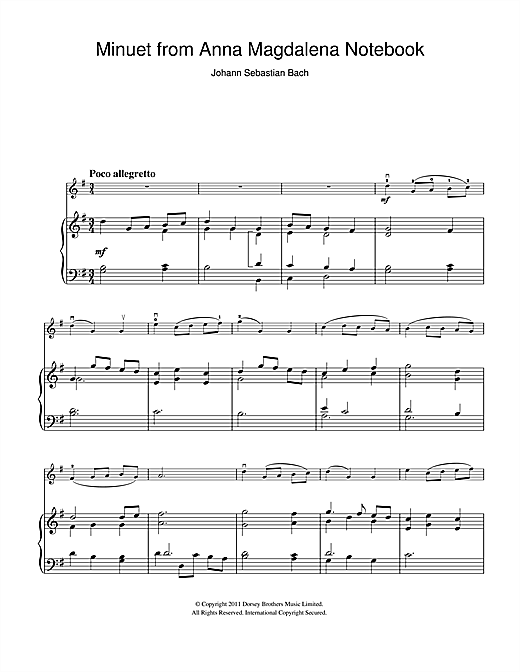 Minuet in G Major (from The Anna Magdalena Notebook) (Violin Solo)