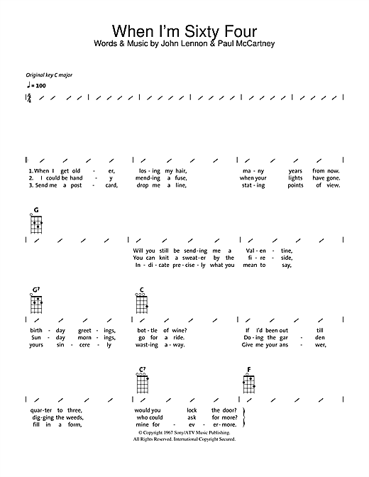 Tablature guitare When I'm Sixty-Four de The Beatles - Ukulele (strumming patterns)