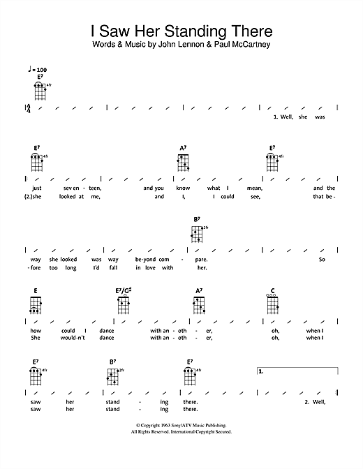 Tablature guitare I Saw Her Standing There de The Beatles - Ukulele (strumming patterns)