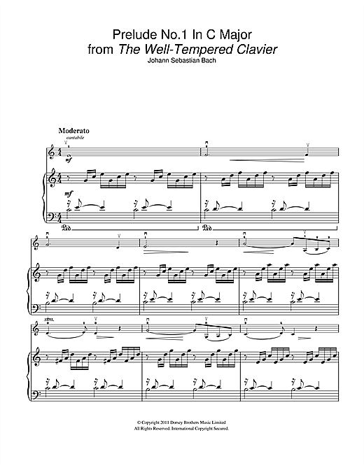 Partition autre Prelude No.1 in C Major (from The Well-Tempered Clavier, Bk.1) de Johann Sebastian Bach - Violon
