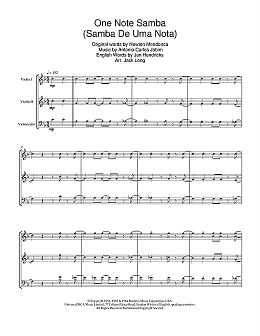 One Note Samba (Samba De Uma Nota) Sheet Music