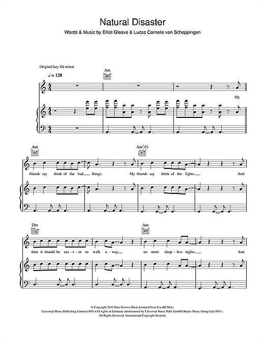 Natural Disaster (feat. Laid Back Luke) Sheet Music