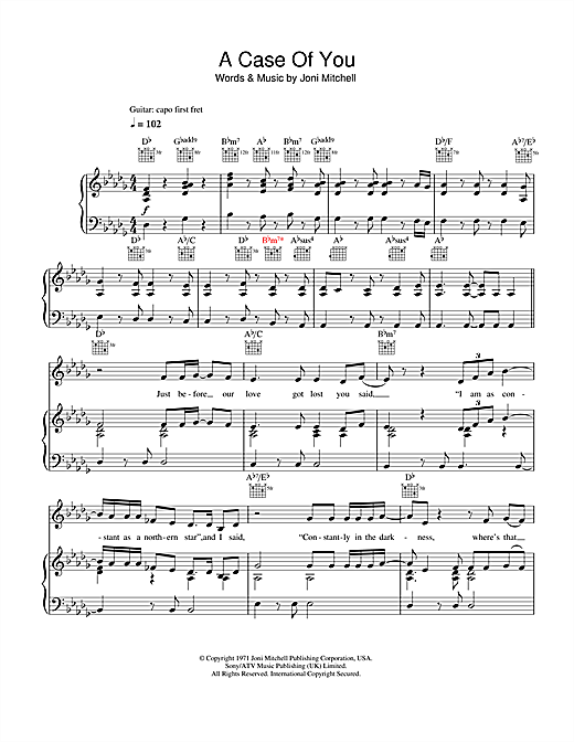 A Case Of You (Piano, Vocal & Guitar (Right-Hand Melody))