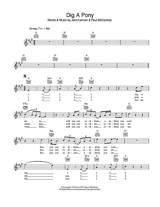 Dig A Pony (Lead Sheet / Fake Book)