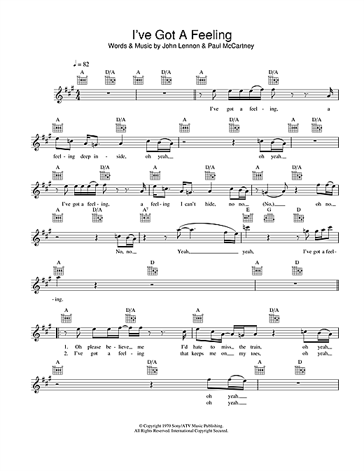I've Got A Feeling (Lead Sheet / Fake Book)