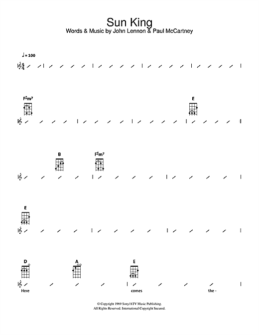 Tablature guitare Sun King de The Beatles - Ukulele (strumming patterns)