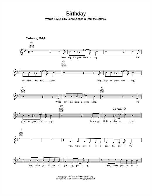 Birthday Sheet Music