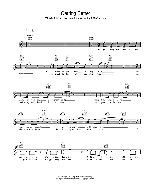 Getting Better Sheet Music