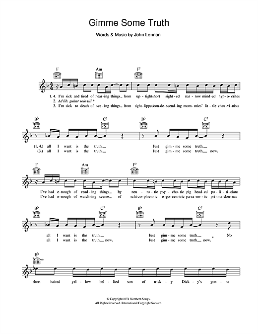 Gimme Some Truth (Lead Sheet / Fake Book)