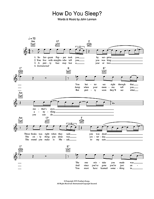 How Do You Sleep? chords by John Lennon (Melody Line ... - photo#7
