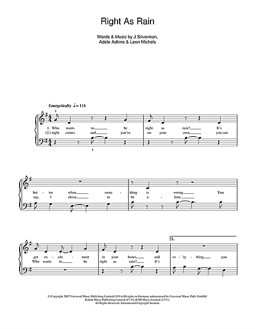 Right As Rain Sheet Music