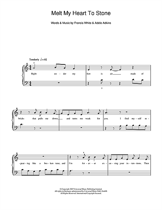 Melt My Heart To Stone Sheet Music