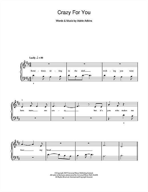 Crazy For You Sheet Music